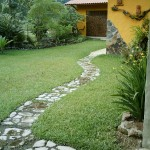 Pathway along the side of the house.